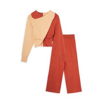 Girl's 2-Piece Colorblock Sweater & Pants Set Habitual