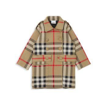 Маленькая девочка & amp; Жаккардовое пальто в клетку Burberry для девочек Burberry