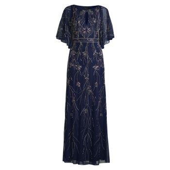 Вечернее платье с вышивкой бисером и сеткой Aidan Mattox
