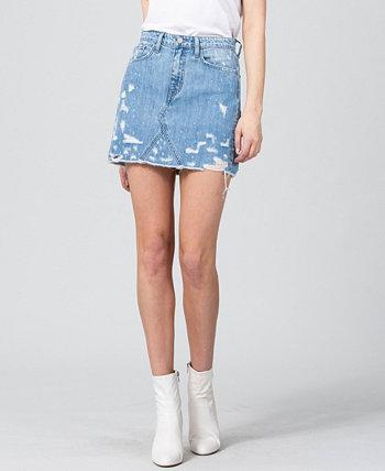 Женская джинсовая мини-юбка с сильно потертостями FLYING MONKEY