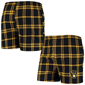 Men's Concepts Sport Navy Milwaukee Brewers Parkway Flannel Boxer Shorts Unbranded