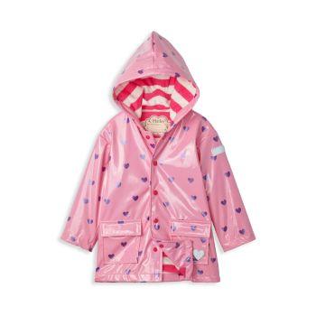 Little Girl's & Girl's Scattered Hearts Glitter Raincoat Hatley