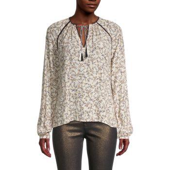 Блуза с кисточками и принтом Halston Cupcakes and Cashmere