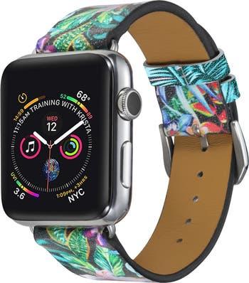 Кожаный ремешок для Apple Watch Series 1, 2, 3, 4, 5 с черным тропическим цветочным принтом 42 мм / 44 мм POSH TECH