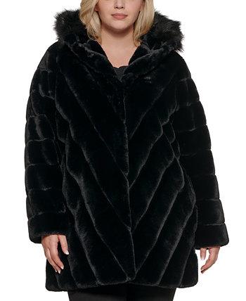 Plus Size Chevron Hooded Faux-Fur Coat Calvin Klein