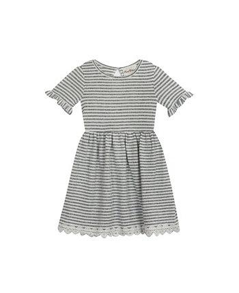 Вязаное платье в полоску для маленьких девочек Rare Editions