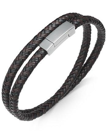Мужской браслет из нержавеющей стали и плетеной кожи Sutton by Rhona Sutton
