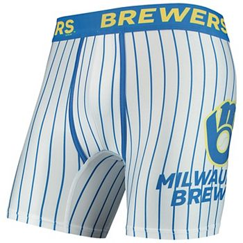 Men's Concepts Sport White Milwaukee Brewers Pinstripe Boxer Briefs Unbranded