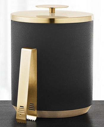 Черно-золотое ведро для льда с щипцами, созданное для Macy's Hotel Collection
