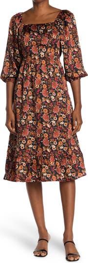 Платье миди с пышными рукавами и цветочным принтом Collective Concepts