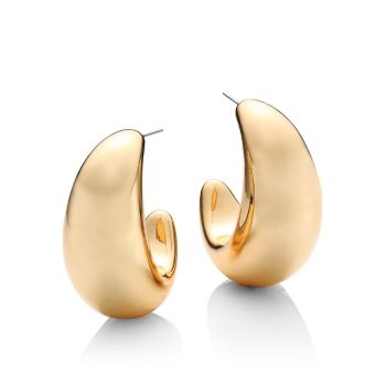 Polished 14K Goldplated Chubby Tapered Hoop Earrings Kenneth Jay Lane