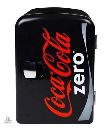 Coca-Cola Zero Portable 6 Can Thermoelectric Mini Fridge Cooler / Warmer, емкость 4 л / 4,2 кварты, 12 В постоянного тока / 110 В переменного тока для дома, общежития, автомобиля, лодки, напитков, закусок, средств по уходу за кожей, косметики, лекарств Koolatron