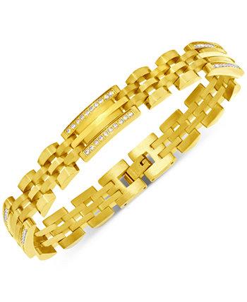 Мужской двухцветный браслет из звеньев с бриллиантами (1/2 карата) из нержавеющей стали и желтой ионной пластины Macy's