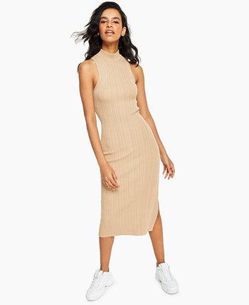 Полосатое платье миди без рукавов с воротником-стойкой LEYDEN
