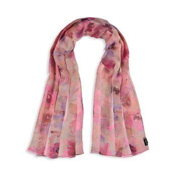 Шелковый шарф с цветочным рисунком и акварелью FRAAS