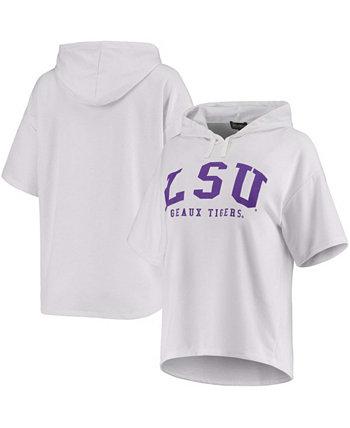 Женская белая толстовка с капюшоном LSU Tigers Flowy Tri-Blend с короткими рукавами и короткими рукавами Gameday Couture
