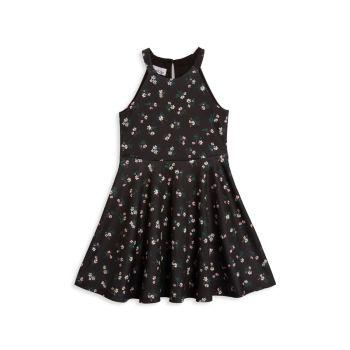 Текстурированный трикотаж для девочек Ditsy Floral Fit & amp; Платье-клеш Pippa & Julie