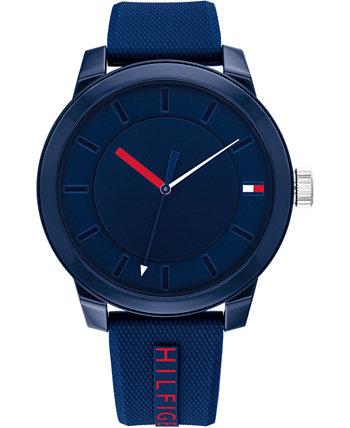 Мужские часы с синим силиконовым ремешком 44 мм Tommy Hilfiger