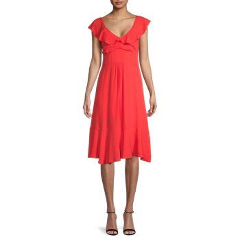 Платье с V-образным вырезом и оборками Dress Forum