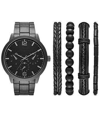 Мужские черные часы с браслетом из нержавеющей стали 46 мм, подарочный набор Folio