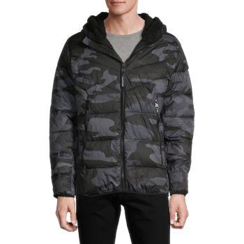 Down Puffer Faux Fur Hooded Jacket Calvin Klein