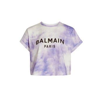 Укороченная футболка с принтом тай-дай Balmain