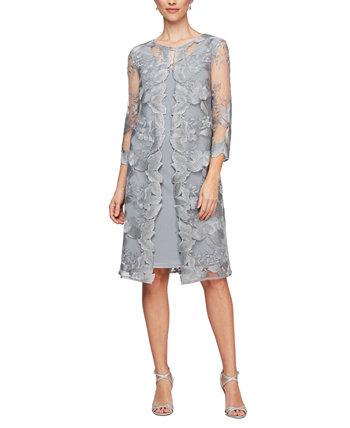Платье-жакет с многослойной вышивкой Petite Alex Evenings