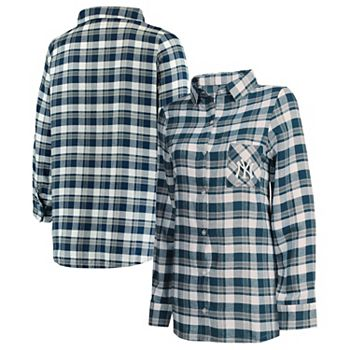 Women's Concepts Sport Navy/Gray New York Yankees Plus Size Piedmont Flannel Nightshirt Unbranded