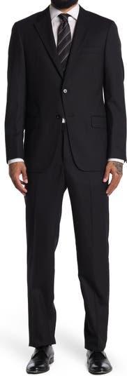 Черный шерстяной костюм с двумя пуговицами и отворотом Hickey Freeman