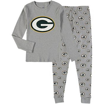 Youth Heathered Gray Green Bay Packers Long Sleeve T-Shirt & Pants Sleep Set Outerstuff