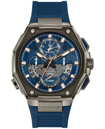 Мужские часы с хронографом Precisionist X с синим резиновым ремешком из EPDM, 44,5 мм Bulova