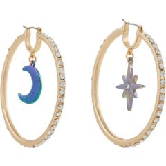 Серьги-кольца с подвесками в виде луны и звезд с паве Betsey Johnson