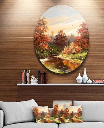 """Металлические настенные панно Designart 'The Red River', пейзажный круг, - 23 """"x 23"""" Design Art"""