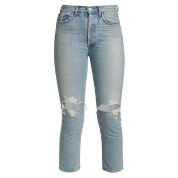 Укороченные рваные джинсы Riley AGOLDE