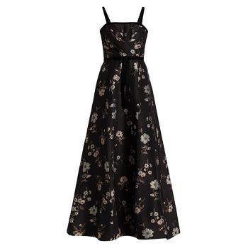 Жаккардовое платье без рукавов с бархатной отделкой и цветочным принтом ML Monique Lhuillier