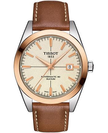 Мужские швейцарские автоматические часы с кожаным ремешком Gentleman Brown 40 мм Tissot