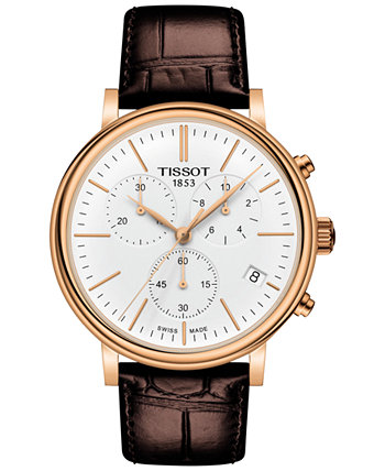 Мужской швейцарский хронограф Carson Premium с коричневым кожаным ремешком, часы 41 мм Tissot