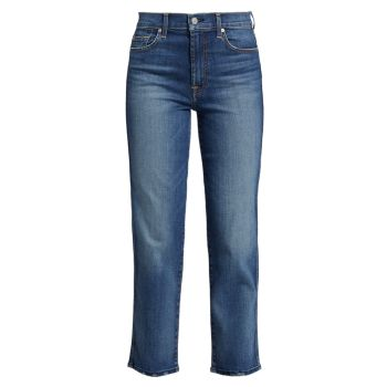 High-Rise Straight Cropped Jeans 7 For All Mankind