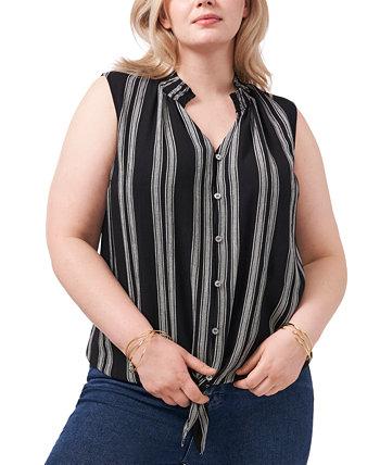 Plus Size Stripe-Print Tie-Hem Top 1.STATE