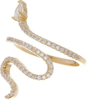 Позолоченное 14-каратное позолоченное кольцо в виде змеи с кристаллами Swarovski и акцентом ADORNIA