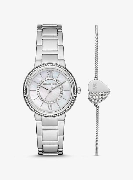 Серебряные часы Mini Gabbi Pavé с браслетом в форме сердца Michael Kors