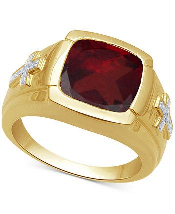 Мужское кольцо с гранатом (7-3 / 4 карата) и бриллиантами из золота 18 карат поверх стерлингового серебра Macy's