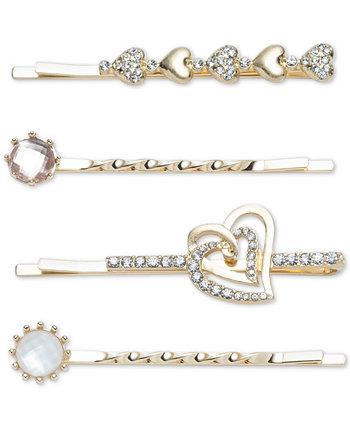 Золотистые 4 шт. Набор булавок для бобби в форме сердца и камней в виде паве Lonna & lilly