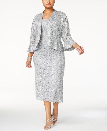 Кружевное платье больших размеров и жакет с рюшами R & M Richards