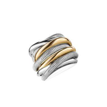 Eternity 18K желтое золото & amp; Кольцо Highway из стерлингового серебра с 7 диапазонами Judith Ripka