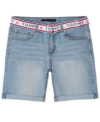 Toddler Girls Belted Denim Shorts Tommy Hilfiger