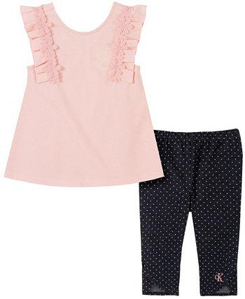 Текстурированный топ с флаттером для девочек и комплект джеггинсов-капри, 2 предмета Calvin Klein