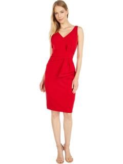 Stretch Crepe V-Neck Bow Dress MARINA