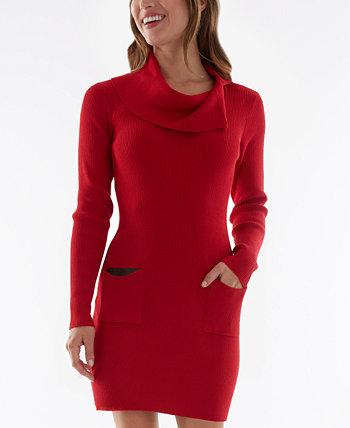 Платье-свитер в рубчик с хомутом и накладными карманами из кожи для юниоров BCX