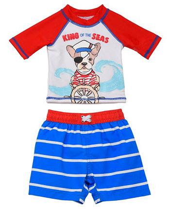 Набор из 2 штук Rashguard для младенцев с изображением пирата для собак Wetsuit Club